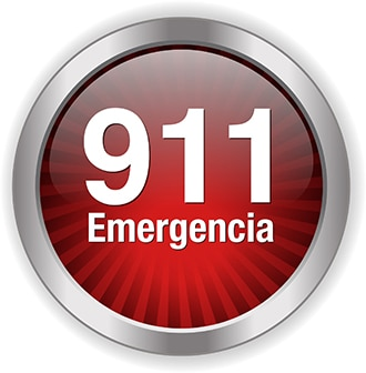 """A red button that says """"911 Emergency"""""""