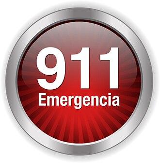 "Un botón rojo que dice ""911 Emergencia"""