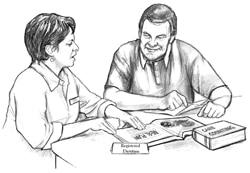 Dibujo de una dietista en una consulta con un paciente.