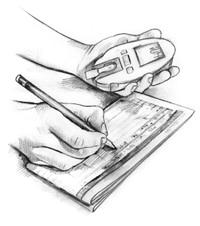 Dibujo de unos manos que sostienen un medidor de glucosa en la sangre y escriben los resultados de la prueba en un libro de registro.
