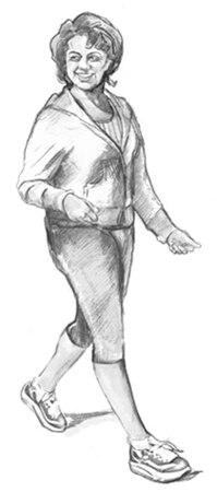 Dibujo de una mujer que camina.