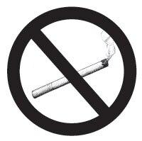 """Ilustración de un cigarrillo encendido, adentro de la señal que dice """"prohibido fumar"""", para enfatizar que el fumar no se permite."""