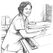 Dibujo lineal de una mujer sonríente trabajando en un escritorio gráfico.