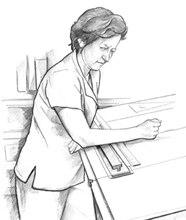 Dibujo lineal de una mujer con la cara fruncida en un escritorio gráfico.