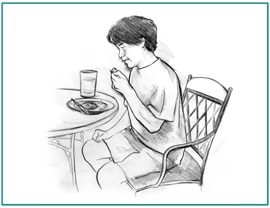Drawing of an older boy sitting at a table, eating a healthy meal.