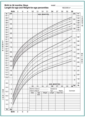 Growth Chart For S 0 To 36 Months Old Showing Length Age And Weight Percentiles