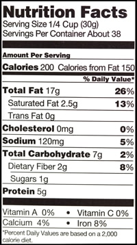 An example of a Nutrition Facts food label that shows a Percent Daily Value of 5 percent of sodium per serving.