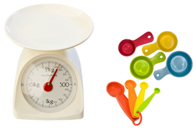 Food scale and measuring cups and spoons