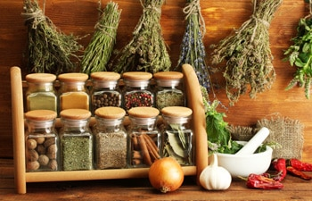 Dried herbs and spice jars.