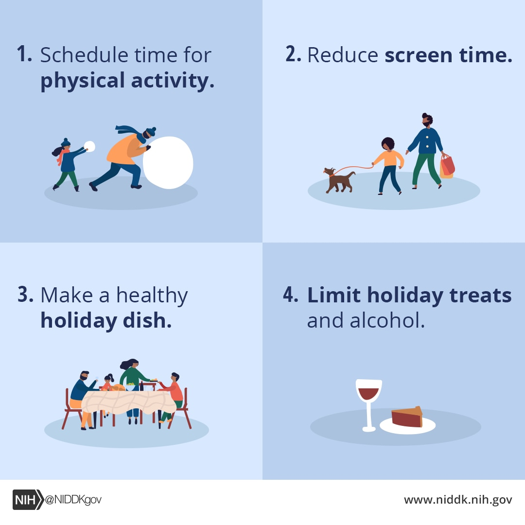 Grid of graphics with tips for healthy living
