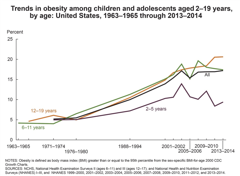 Figure showing trends in obesity among US children and adolescents from 1963 to 1965 and 2013 to 2014.