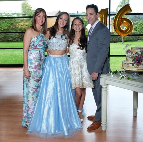 Valentina at her sweet 16 party with her family.