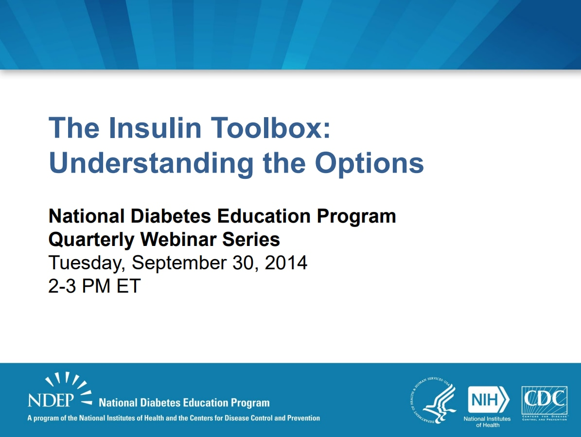 Title slide for insulin toolbox.