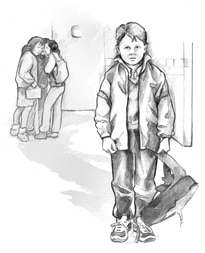 Drawing of an unhappy boy holding his backpack.