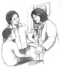 Drawing of a mother and son talking with a doctor.