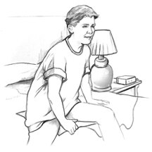 Drawing of a boy awakened by a moisture alarm.