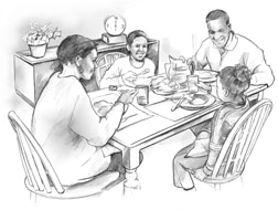 Drawing of an African American family at dinner.