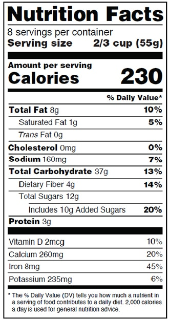 Image of a nutrition label