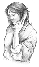 Drawing of a woman on the phone.