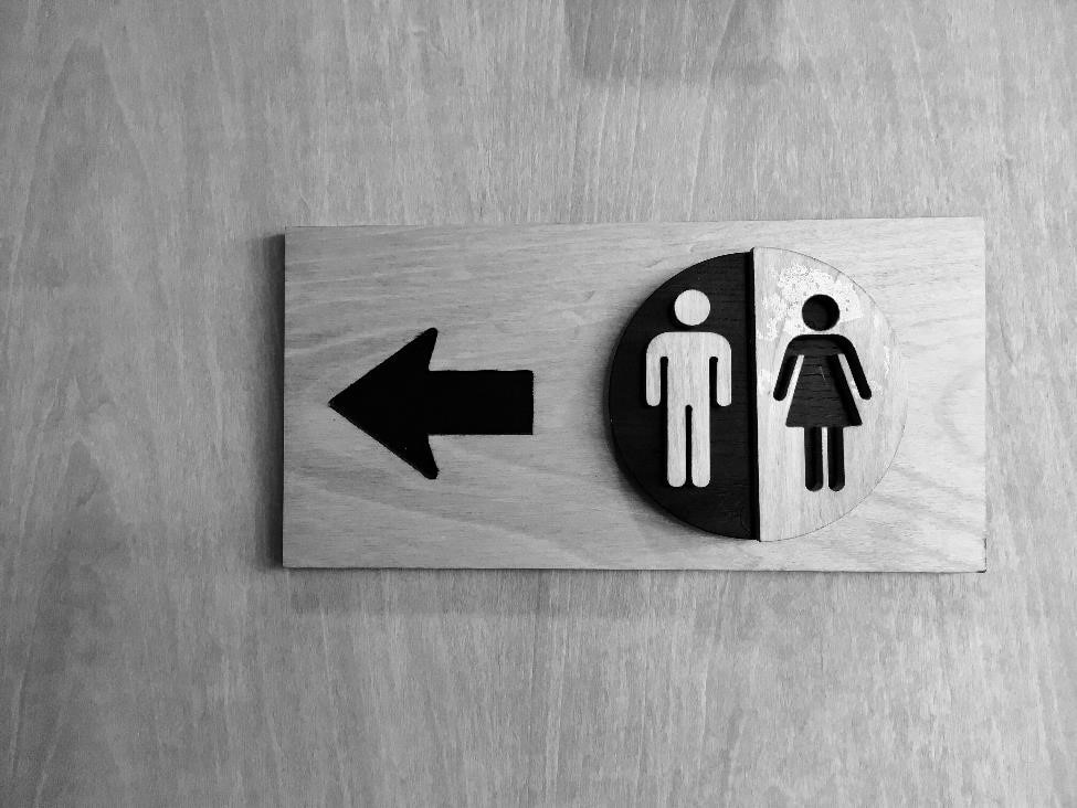 Men's and women's restroom sign.