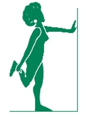 Silhouette illustration of woman stretching legs by curling leg up towards the buttock.