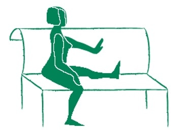 Silhouette illustration of woman stretching hamstring by sitting on a bench.