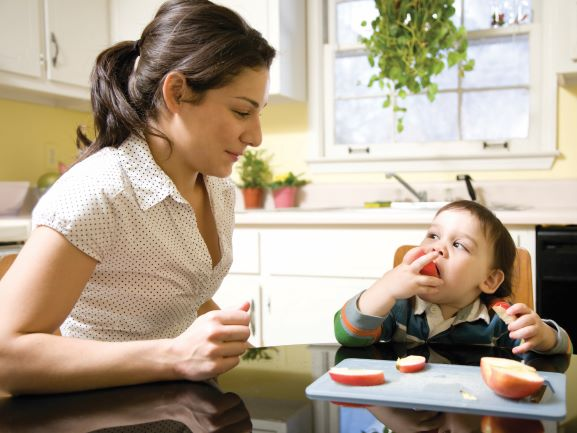 Female babysitter serves apple slices to a toddler boy in a highchair.