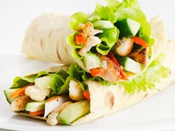 Photo of two veggie wraps with lettuce