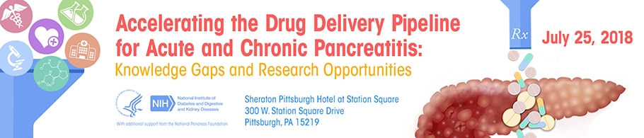 Banner for Accerlerating the Drug Delivery Pipeline for Acute and Chronic Pancreatitis: Knowledge Gaps and Research Opportunities meeting