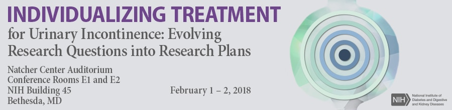Banner for the 2018 Workshop on Individualizing Treatment for Urinary Incontinence