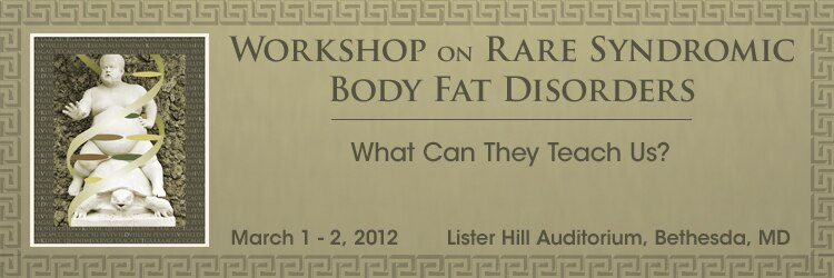 Banner for the 2012 Workshop on Rare Syndromic Body Fat Disorders.