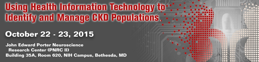 Banner for the 2015 Using Health Information Technology to Identify and Manage CKD Populations Meeting.