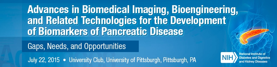 Banner for the 2015 Workshop on Advances in Biomedical Imaging, Bioengineering, and Related Technologies for the Development of Biomarkers of Pancreatic Disease