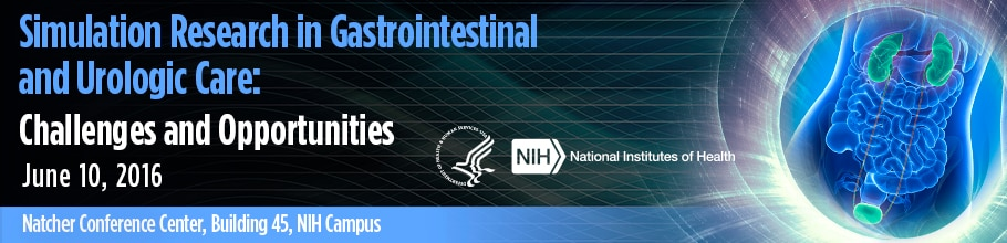 Banner for the 2016 Workshop on Simulation Research in Gastrointestinal and Urologic Care