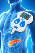 Image of a human pancreas and a glucose monitor