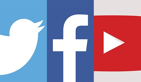 twitter facebook and youtube icons