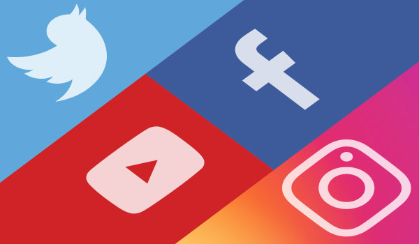 Twitter, Facebook, YouTube, and Instagram icons