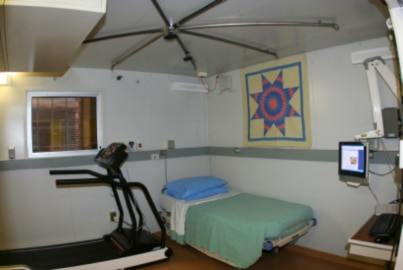 Photo of lab room with treadmill