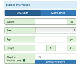 Image for the starting information for the Body Weight Planner