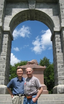 Photo of Frank with Paul at the Tilton, N.H. WW I monument