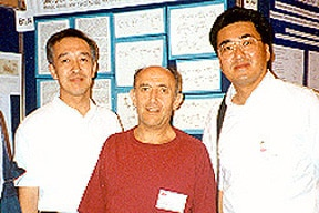Photo of Paul, Naohiko Morishima, and Yuji Ogawa at the International Carbohydrate Symposium in Ottawa, 1994