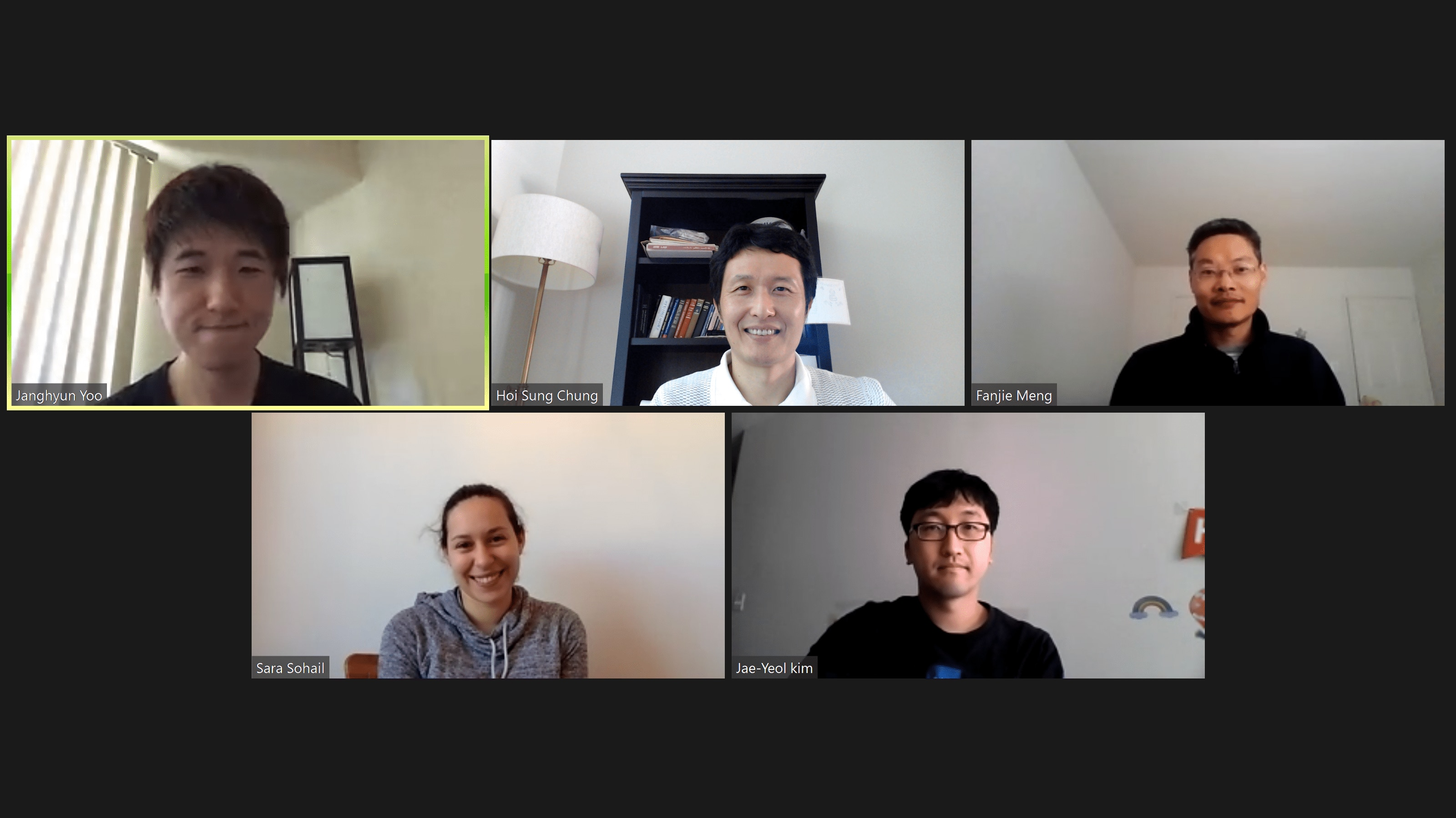 Members of the lab smile during a virtual meeting.