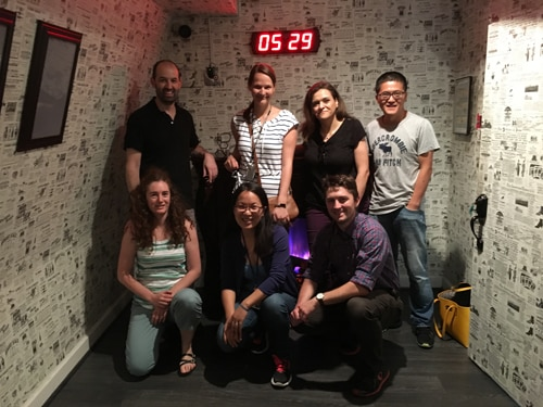 A photograph of the team at an Escape Room