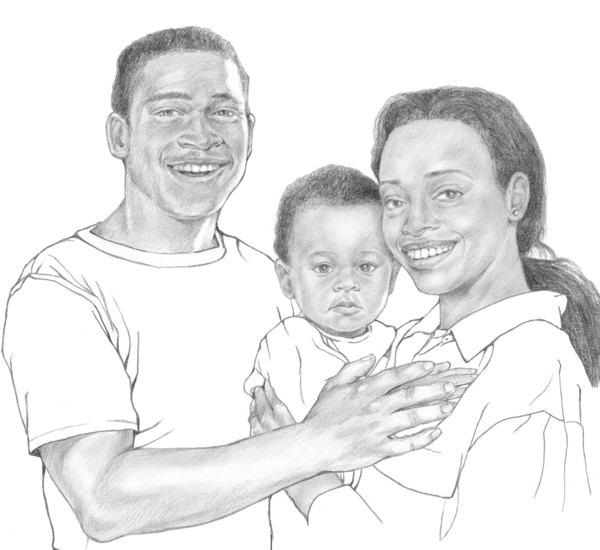 Illustration of an African American family, including a young father and mother holding a baby.