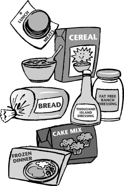 Illustration of prepared foods, such as cereal, bread, and frozen dinners.