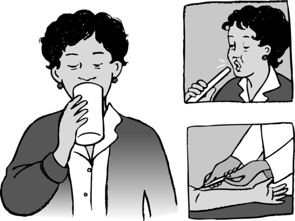 Illustration of a woman drinking milk, taking a breath test, and having blood drawn.
