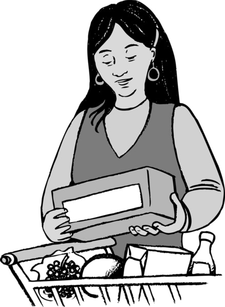 Illustration of a woman reading a food ingredients label.