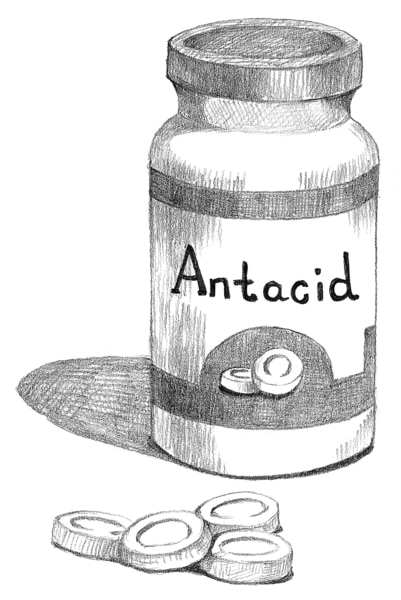 Drawing of a bottle of antacid pills.