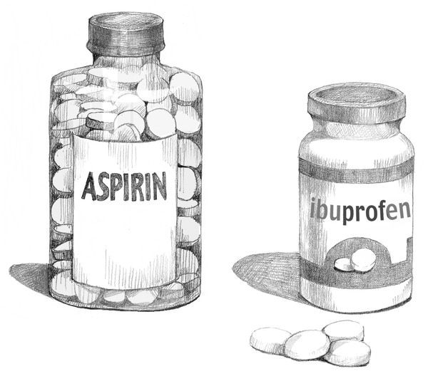 Illustration of bottles of nonsteroidal anti-inflammatory drugs.