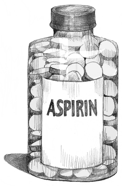 Drawing of a bottle of aspirin.